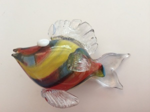 "My blown glass fish trophy nicknamed ""the devil fish'"